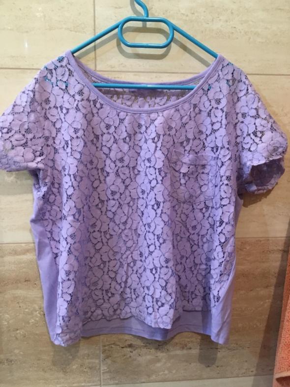 koronkowa fioletowa bluzka 36 S terranova top...