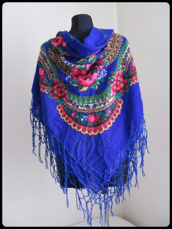 Kolorowa góralska chusta fioletowa w kwiaty duża