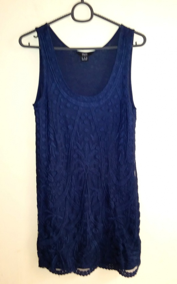 Granatowa haftowana mini sukienka koronka F&F S M