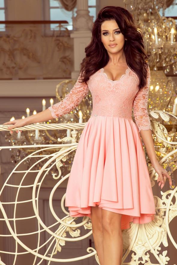 7216ab2085373a NICOLLE sukienka pastelowy róż koronka w Suknie i sukienki - Szafa.pl