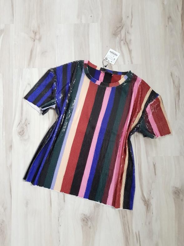 a16db7d878d3 Kolorowa bluzka z cekinami Zara Nowa 36 S w Bluzki - Szafa.pl