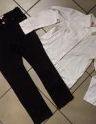 komplet 122 czarne spodnie biała koszula...