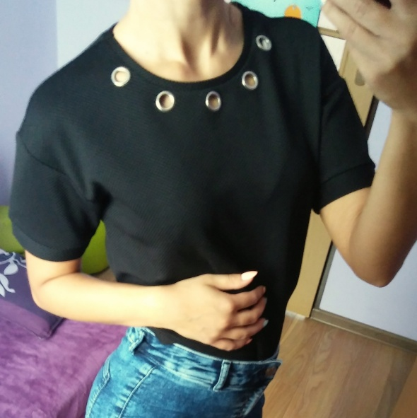 Czarna bluzka pikowana sinsay S M