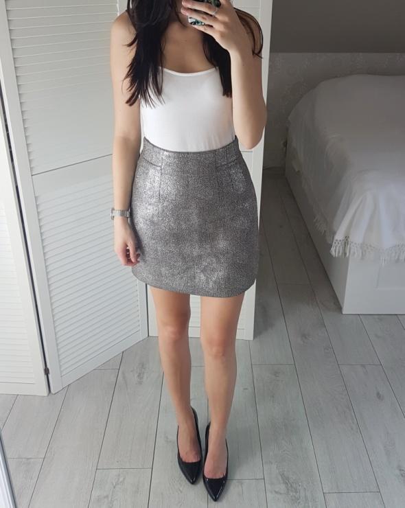 80c72309 HM złota S srebrna spódniczka spódnica rozkloszowana elegancka khaki ...