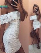 Nowa Sukienka Biała KORONKA HISZPANKA BOHO XL 42