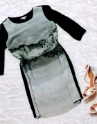 trapezowa H&M tunika sukienka print 34...
