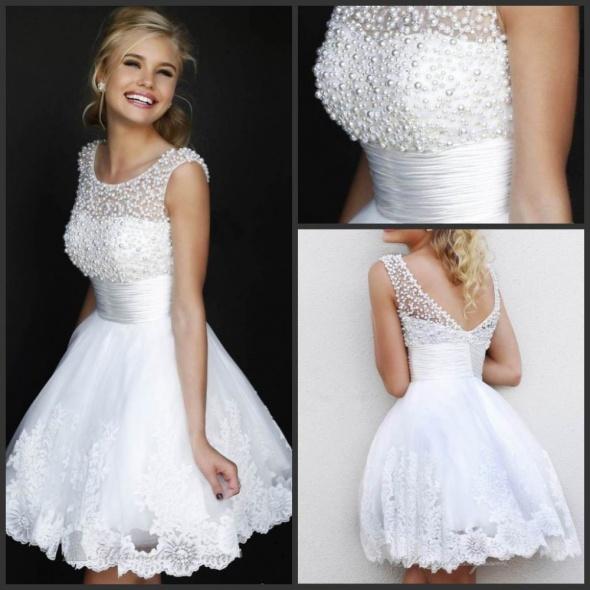 58640549c5 Ślubna sukienka krótka piękna cywilny poprawiny 36 w Suknie ślubne ...