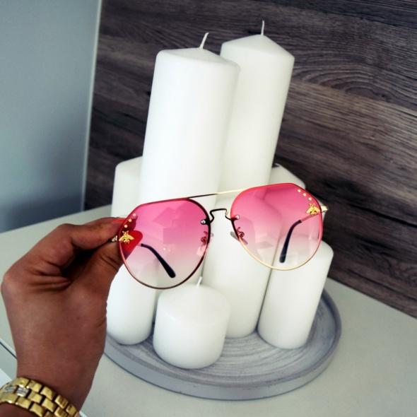 Okulary przeciwsłoneczne GUCCI różowe pszczoła pilotki