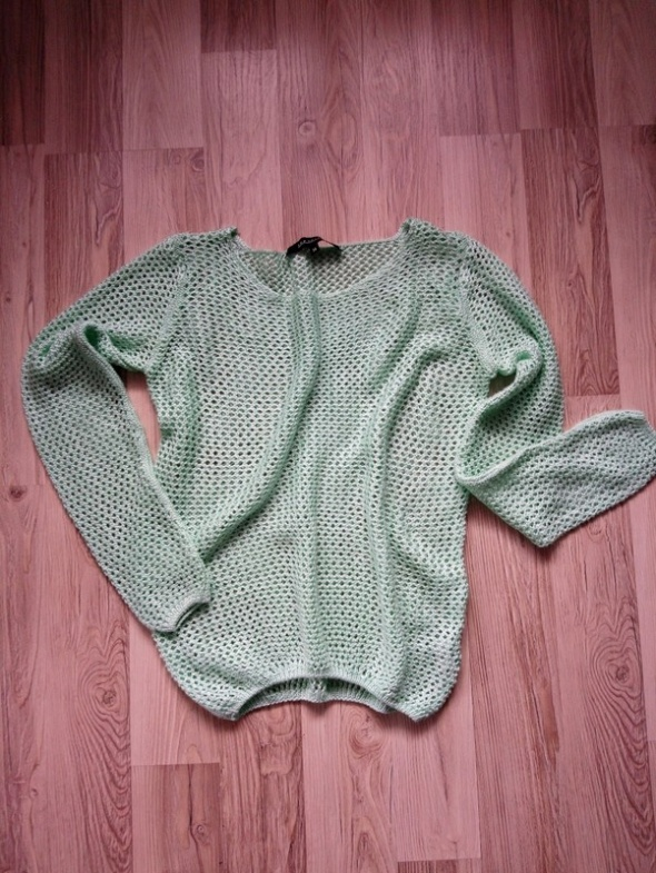 Miętowy sweter ażurowy bluzka z oczkami...