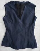 Lniana biznesowa bluzka z koronką S...