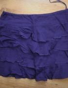 Fioletowa mini bawełniana spódniczka z falbankami...