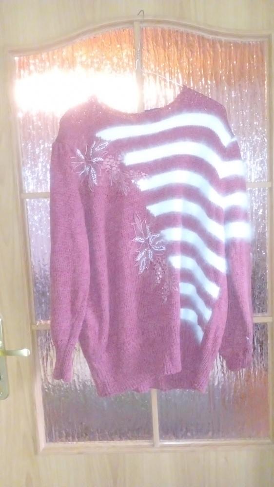 Sweter retro haft korale fluffy over...