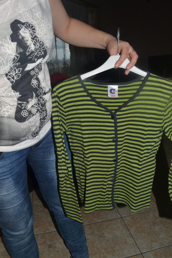 Sweterek zielony w paski kardigan 134cm 140cm 9 10 lat