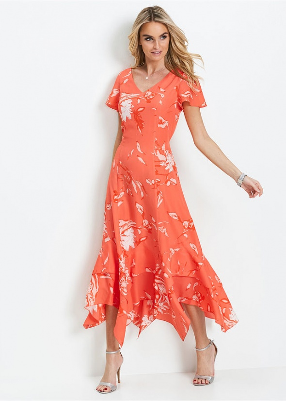 b23db7d9 Długa asymetryczna sukienka w kwiaty pomarańczowa w Suknie i ...
