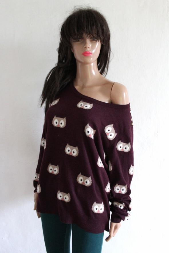 Bordowy sweterek w sowy r 48...