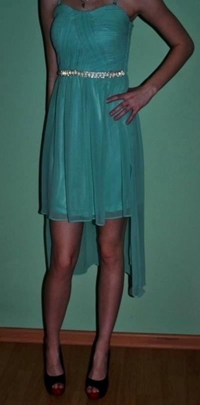 Suknie i sukienki Sukienka miętowa asymetryczna