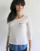 Bezowy sweterek z imitacją koszuli r S...