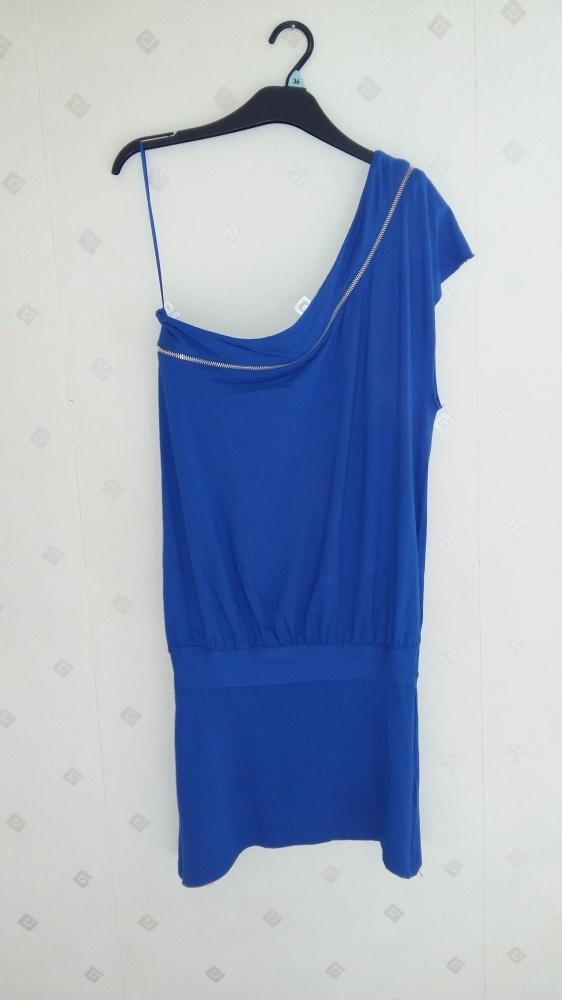 Sukienko tunika na jedno ramie kobaltowa Top Shop