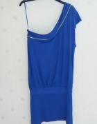 Sukienko tunika na jedno ramie kobaltowa Top Shop...