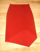 Asymetryczna spódnica bordo L...