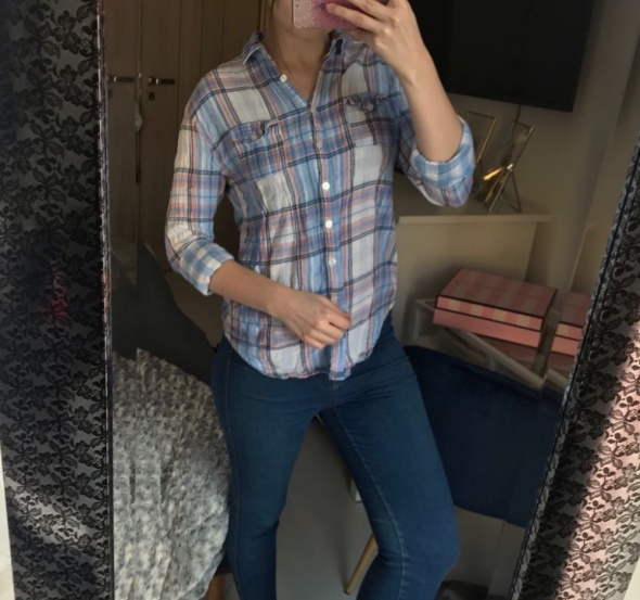 Koszula pastelowa krata oversize Cubus XS S M