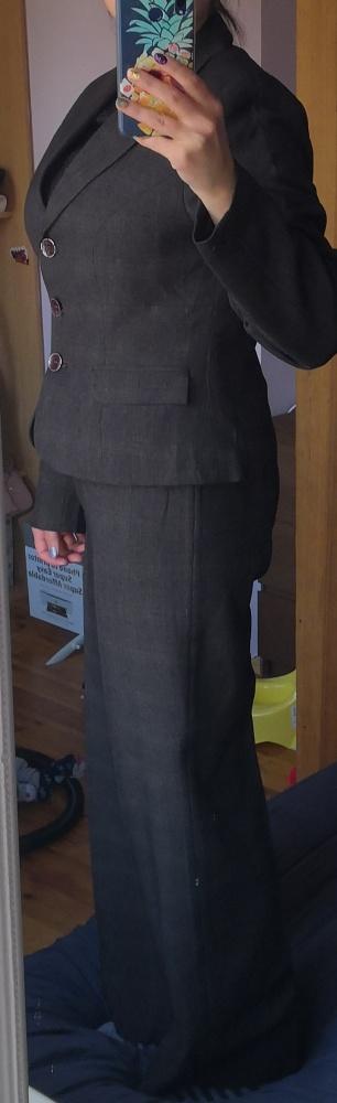 Garnitur kostium garsonka 3 elementy 40 L spódnica spodnie żakiet marynarka elegancki do pracy