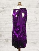 Cekinowa fioletowa sukienka trapezowa