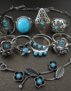 Drobne pierścionki z turkusami