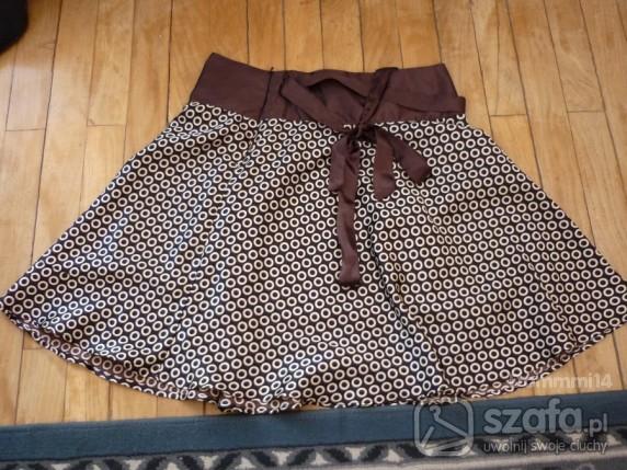 satynowa spódnica w prążki groszki S jak nowa