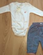 Nowy komplet niemowlęcy białe body z długim rękawem i ocieplane...