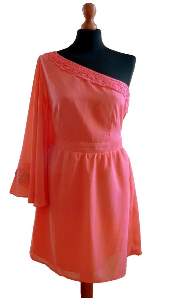 Awear NOWA delikatna koralowa aymetryczna sukienka z UK wesele studniówka M