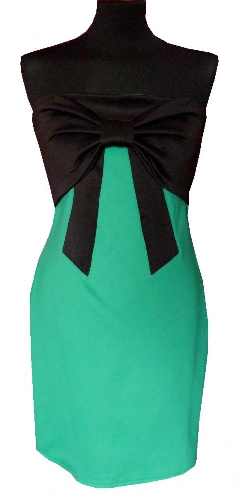 Nowa dopasowana sukienka z kokardą ciemna mięta L wesele studniówka