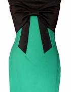 Nowa dopasowana sukienka z kokardą ciemna mięta L wesele studni...