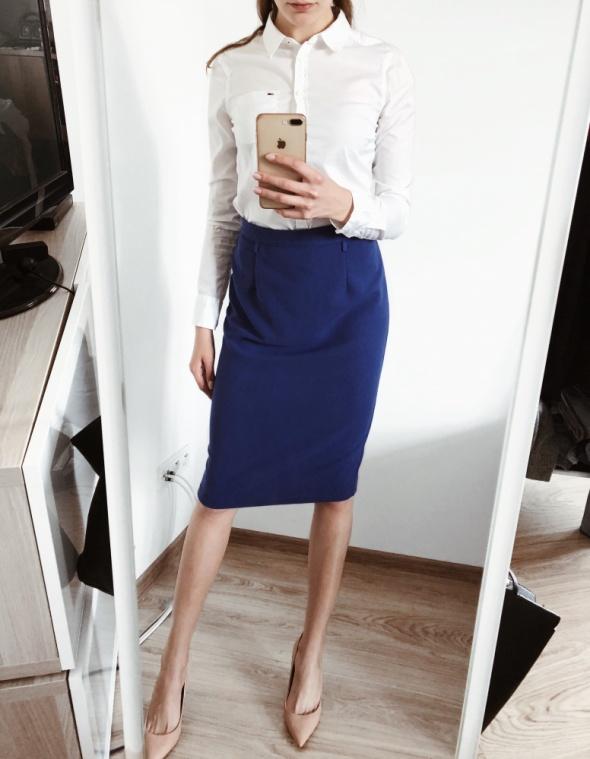 3cf6f9ea Ołówkowa obcisła spódnica M 38 elegancka biurowa niebieska kobaltowa ...