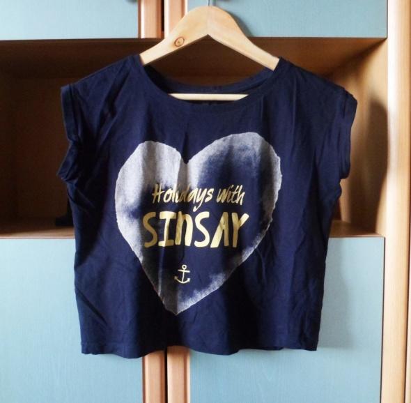 Koszulka Sinsay z nadrukiem bluzka tshirt crop top z napisami