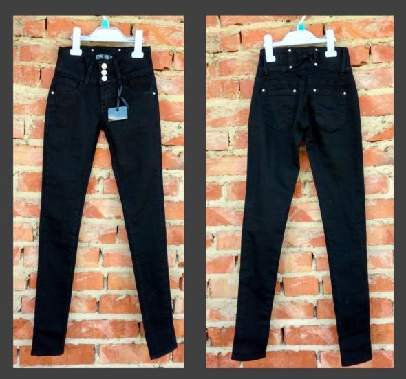 Nowe spodnie skinny kruczo czarne średni stan XXS XS