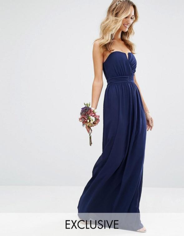 STUDNIÓWKA Navy blue suknia maxi gorsetowa TFNC London XS S
