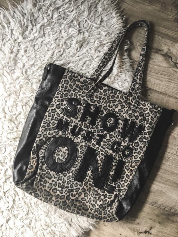 3 rzecz gratis modna duża torba shopper bag w panterkę z napisem Sinsay