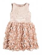 Cool Club Sukienka dziewczęca bez rękawów cekiny i róże złota