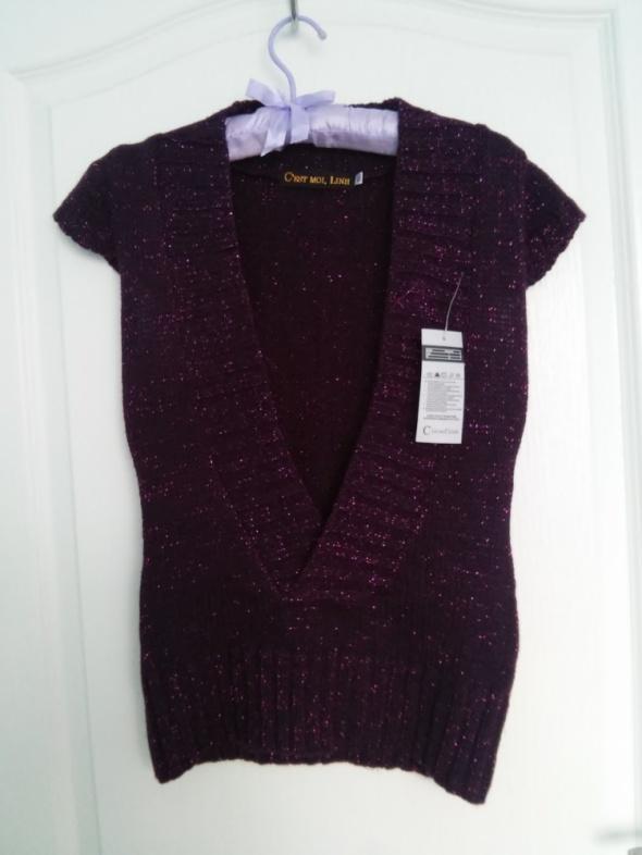 sweterek burgundowy bordowy fioletowy z błyszczącą