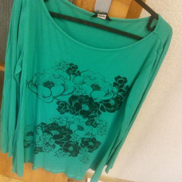 turkusowa bluzka z nadrukiem w kwiaty Gorge rozm M...