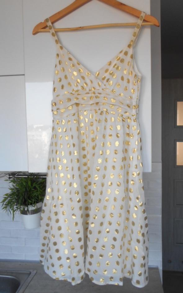 HM sukienka złote kropki groszki retro wesele...