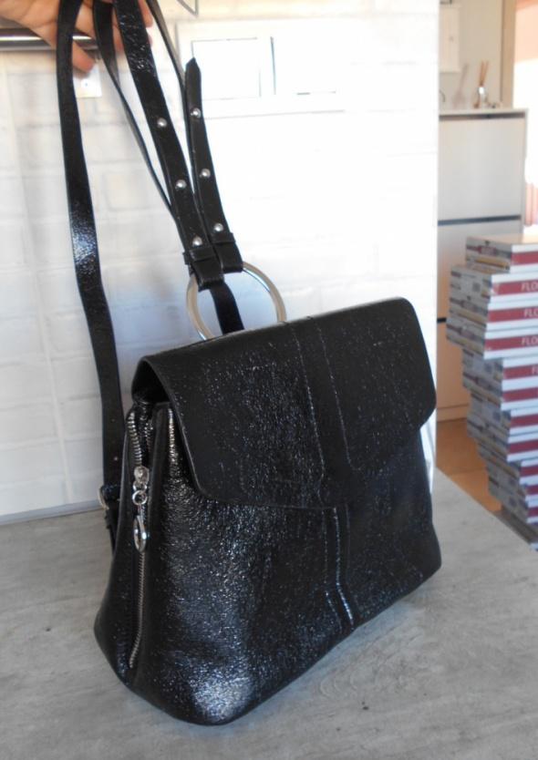 Zara nowy czarny lakierowany plecak
