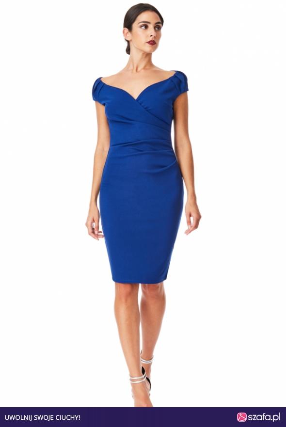 9b5433f5754d Kobaltowa ołówkowa sukienka midi na wesele z efektownym marszczeniem w talii