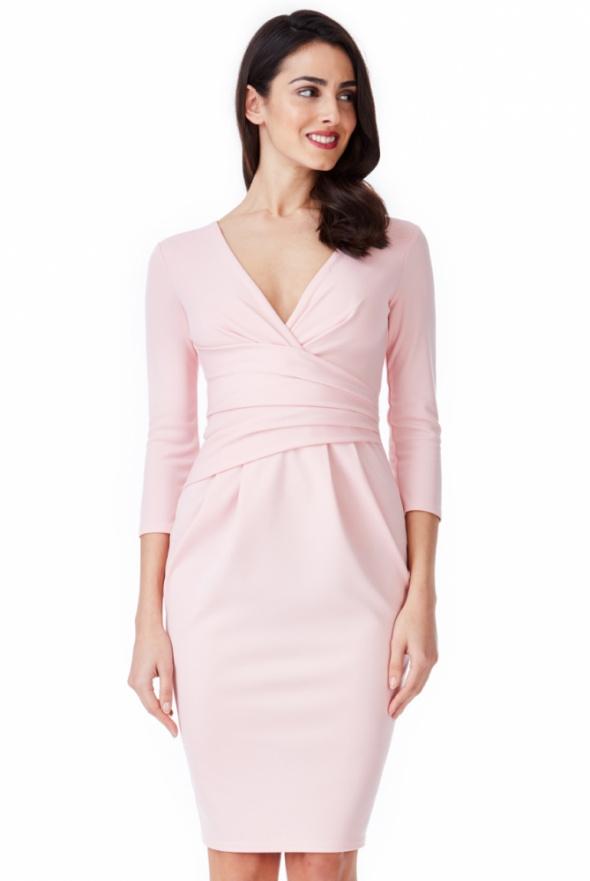 469b7850a8 Beżowa ołówkowa sukienka wieczorowa midi z głębokim dekoltem z ...