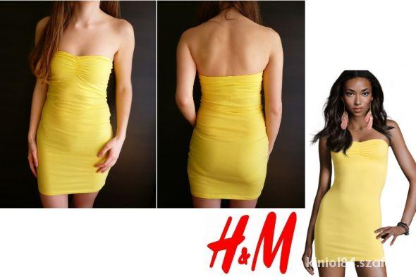 Żółta krótka sukienka tuba H&M xs 34 tuba
