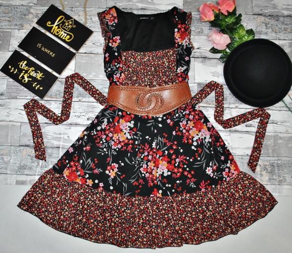 53cf075f5b Suknie i sukienki Sukienka Patchwork Floral Kwiaty Kwiatki Łączka Falbanki  Boho Hippie Folk Retro Romantyczna Gothic