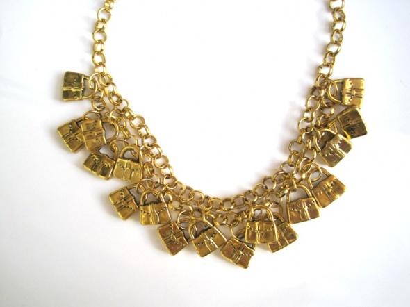 oryginalny złoty naszyjnik zawieszki torebki