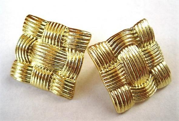kolczyki złote kwadraty plecionka
