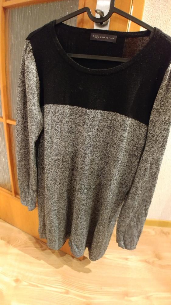 Swetry szaro czarny luźny swteter M&S Collection rozmiar L